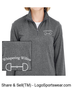 Ladies Cool and Dry Heathered Performance Quarter-Zip- Embroidered Design Zoom