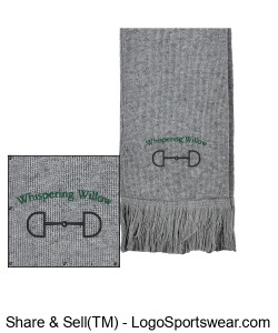 Fringed Acrylic Scarf- Embroidered Design Zoom